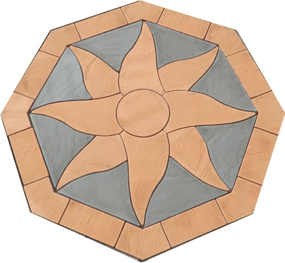 2400mm Aztec Sun Octagonal ( no infill ) Patio Kit Terracotta and slate Grey